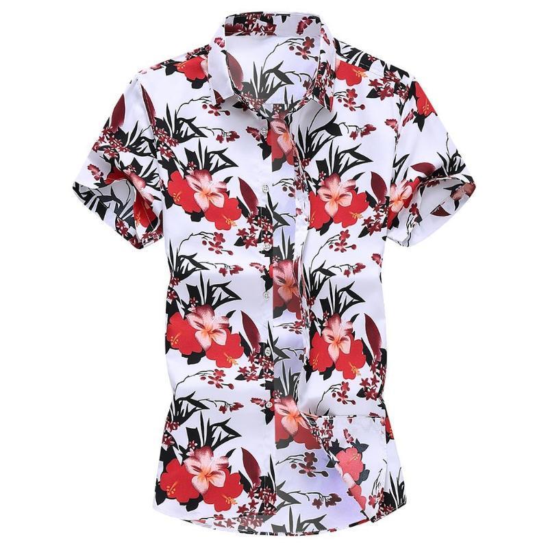 Le camicie casual da uomo sei sicuro di non fare clic e vedere? Moda uomo Slim Slim Losed Hawaii Manica corta Stampata Camicia da colletto a turni Top che