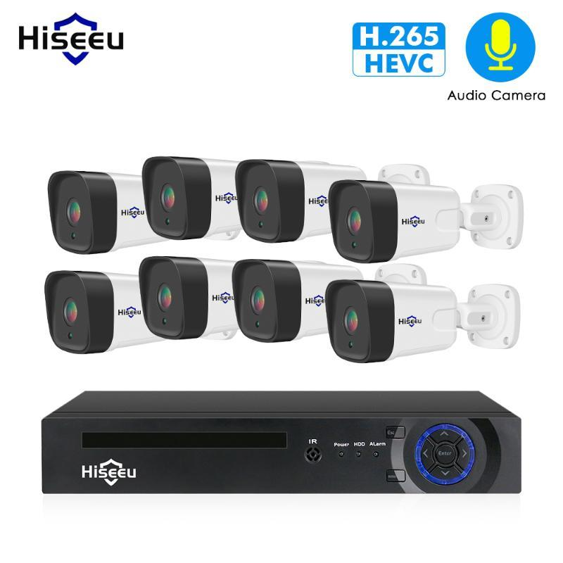 Hiseeu 8CH 1080P POE NVR CCTV System System Kit H.265 2.0MP Audio Record IP-камера Водонепроницаемый на открытом воздухе накрытый набор видеонаблюдения