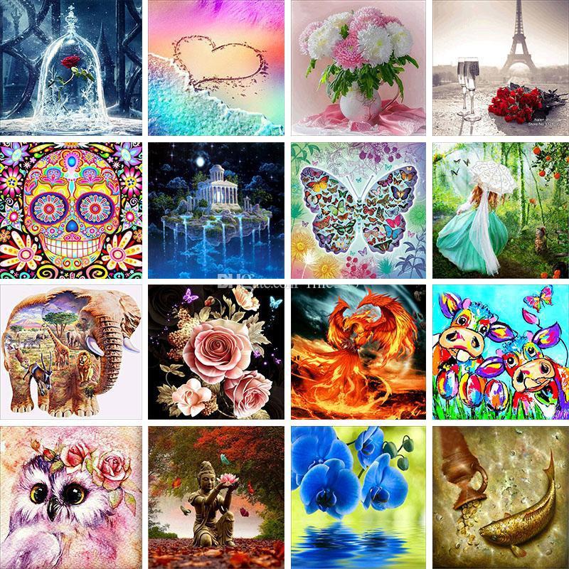 Fashion 5D DIY Diamond Art Kit Painting Cross Ctitch Kit 100+ Pattern Wall Sticker Mosaic Diamond Embroidery Painting Home Decor Kids Gift