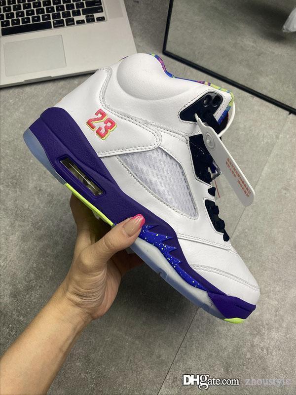 Hot Air Лучшего Аутентичные 5 Альтернативного Bel-Air Баскетбольной обуви 5S белой ретро кроссовки суд Purple-Racer Pink-привидения Green Men Спортивная обувь