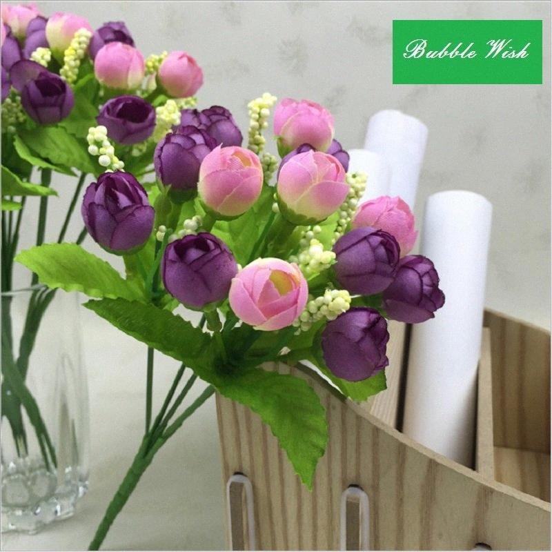 künstliche rosafarbene künstliche Blume Plastikblume Rosebud Perle Kunststoff Knospen 15 Köpfe der Blumen falsch Tragblatt blühen jMzz #