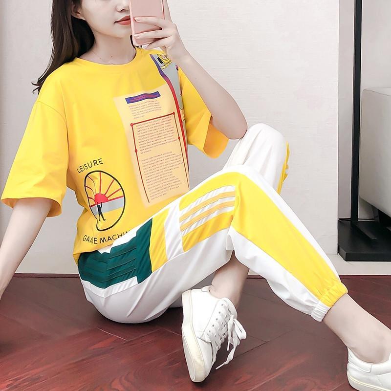 Hzn0c Casual moda elbise kadın yaz 2020 Yeni gevşek spor pantolonlar, spor yaşlanma ayak bileği uzunlukta pantolon iki parçalı set Sportswear Suit