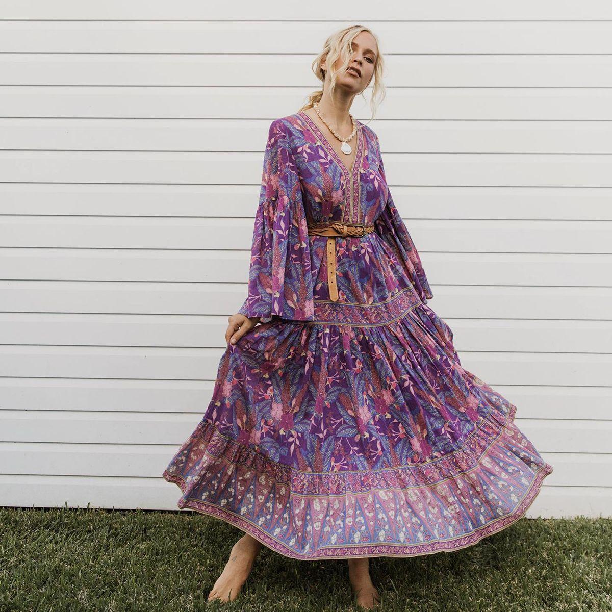 Loose Floral Printed Hippie Maxi Dress Long Sleeve V Neck Vintage Vestido Fall Summer Casual Beach Boho Women Clothes Long Dress Y200805