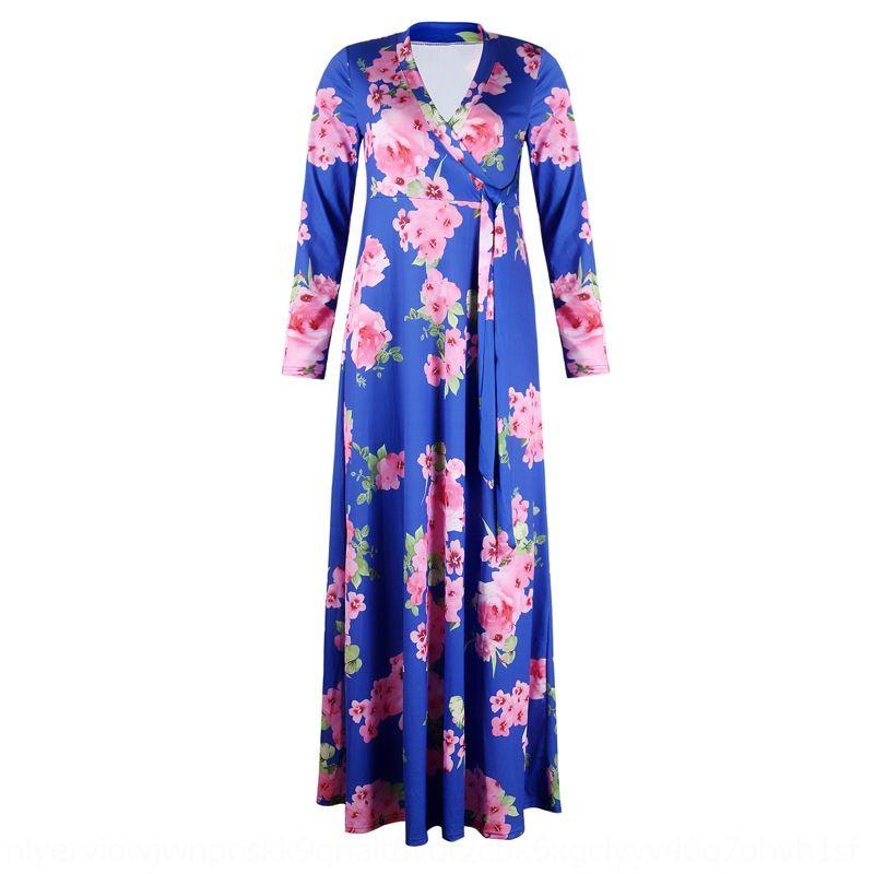 falda grande del vestido grande del oscilación grande larga con cuello en V AyZGa QS2GY de las mujeres impresas falda OM1115 vestido largo