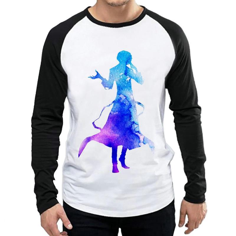 Anime Tam Kol Giyim tişört Bungo Başıboş Köpekler Tişört Erkek Moda Beyaz Uzun Kollu Bungo Başıboş Köpekler Logo T Shirt Tee
