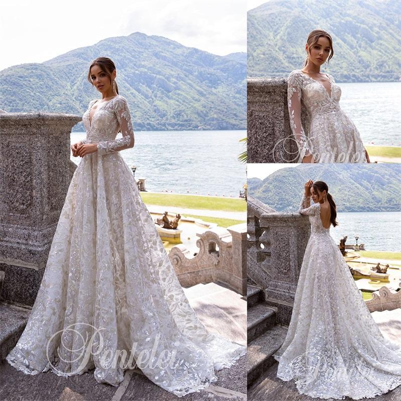 Luxury-линии Pentelei Свадебные платья Sexy V-образным вырезом Backless кружева аппликация Блестки свадебное платье с длинными рукавами сшитое Vestidos De Novia