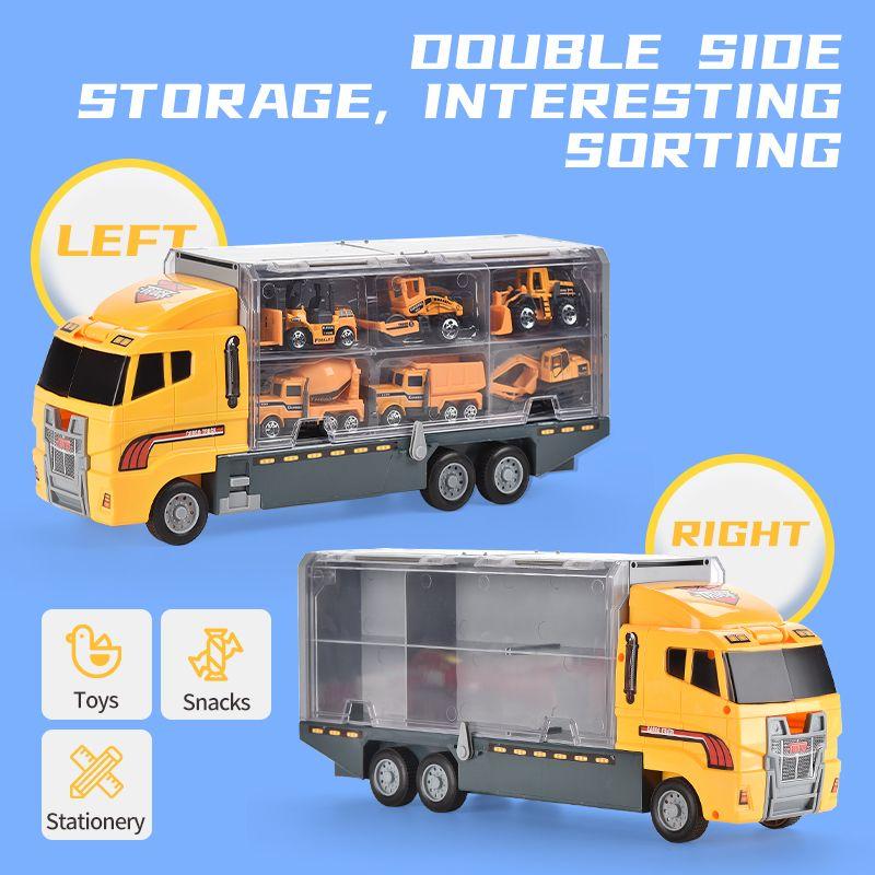 Serie de Ingeniería de Vehículos 2en1 aleación de contenedores 6PCS aleación Mini Diecast modelo de coche de juguete Escala 1:64 Camión transportador de niños Boys Toys