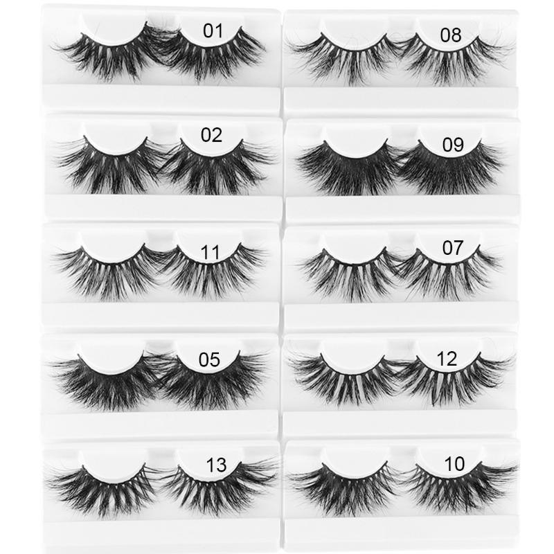 1pair 25mm 3D Yumuşak Vizon Saç Yanlış Eyelashes Dramatik Kalın Uzun Wispy Kirpikler Çoklu katmanlar Fluttery Göz Makyajı Uzatma Araçları