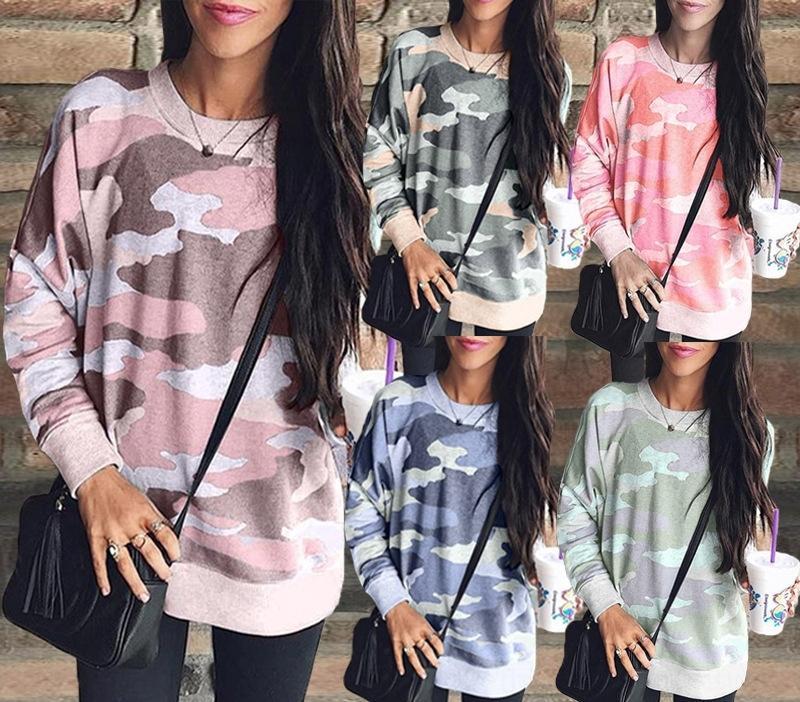 fuarH kış sonbahar ve 2020 moda baskılı yuvarlak boyun uzun kollu kadın üst 100233 kazak En Sweatersweater