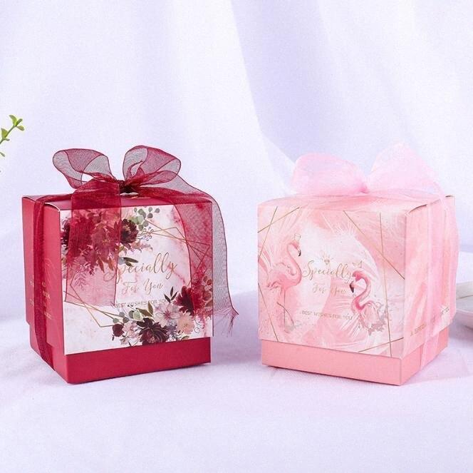 Caixa De Doces 50pcs Flor Vermelha favores Fontes do casamento Flamingo caixas de doces com festa fita Embalagem Box Baby Shower Favor 3Ig3 #