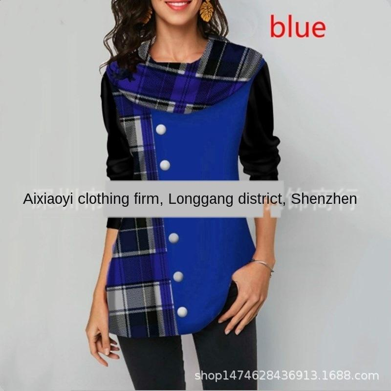 5RACy 2019 wear Button winter women's winter autumn and dress women's clothing autumn stitching plaid button decorative long-sleeved T-