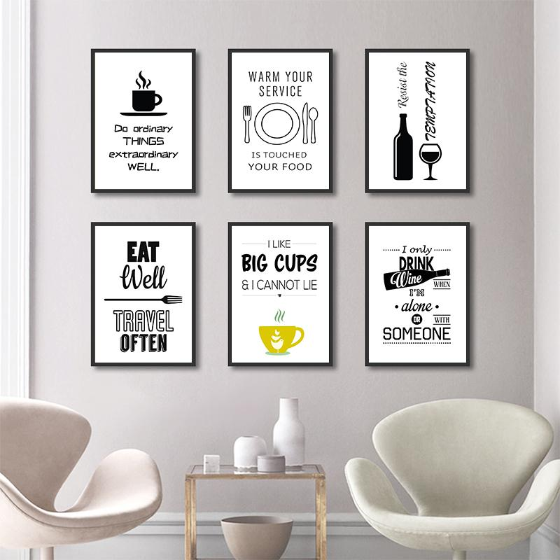 2021 Home Kitchen Wall Art Print Canvas Posters Inspirational Quote Black White Tea And Cofee Wine Minimal Restaurant Decor From Goodcomfortable 3 59 Dhgate Com