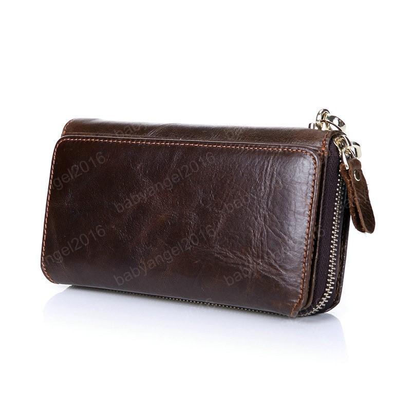 Neue lange Geldbörsen für Brieftaschen Echtes Leder mit Rindsleder Kupplung Multi Wallets Inhaber Braune Männer Funktion Männer Karte Männer CDJQM