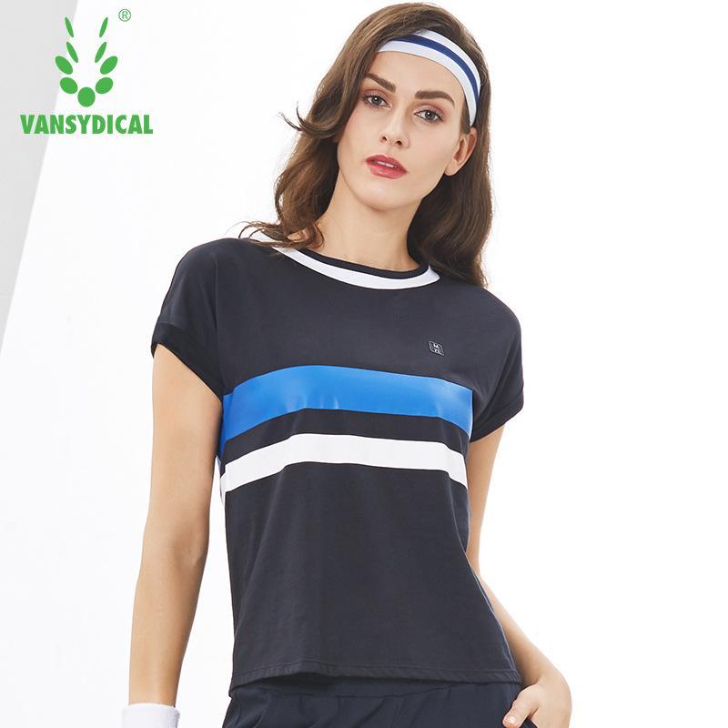 Vansydical camisetas deportivas de gimnasia yoga Camisas de las mujeres Tops Impreso 100% algodón transpirable ejercicios de fitness Ejecución de manga corta