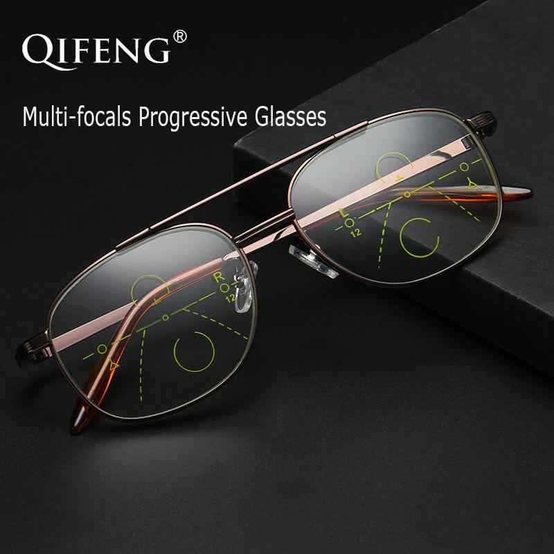 Lectura progresiva QIFENG Multi-Focal Gafas Hombres Mujeres presbicia Hombre Mujer Anteojos Eyewear + 1.0 + 1.5 + 2.0 + 2.5 + 3.0 QF213