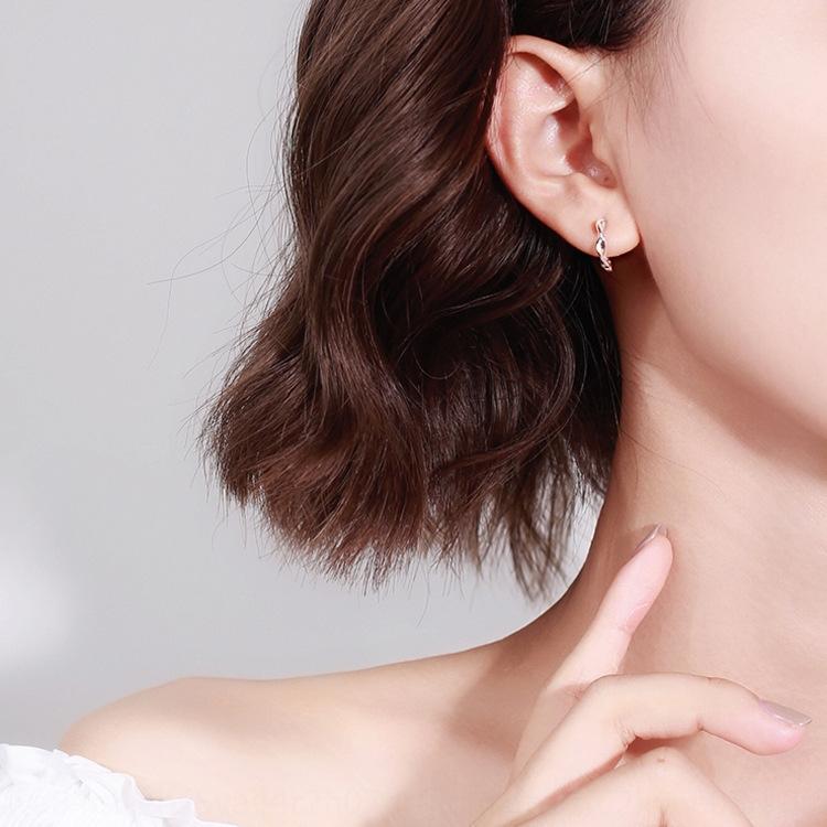 y de 925 mujeres de plata de ley de Corea Mobius japoneses y personalizado versátil fresco pendientes ins guapo pendientes viento frío 7PYSg