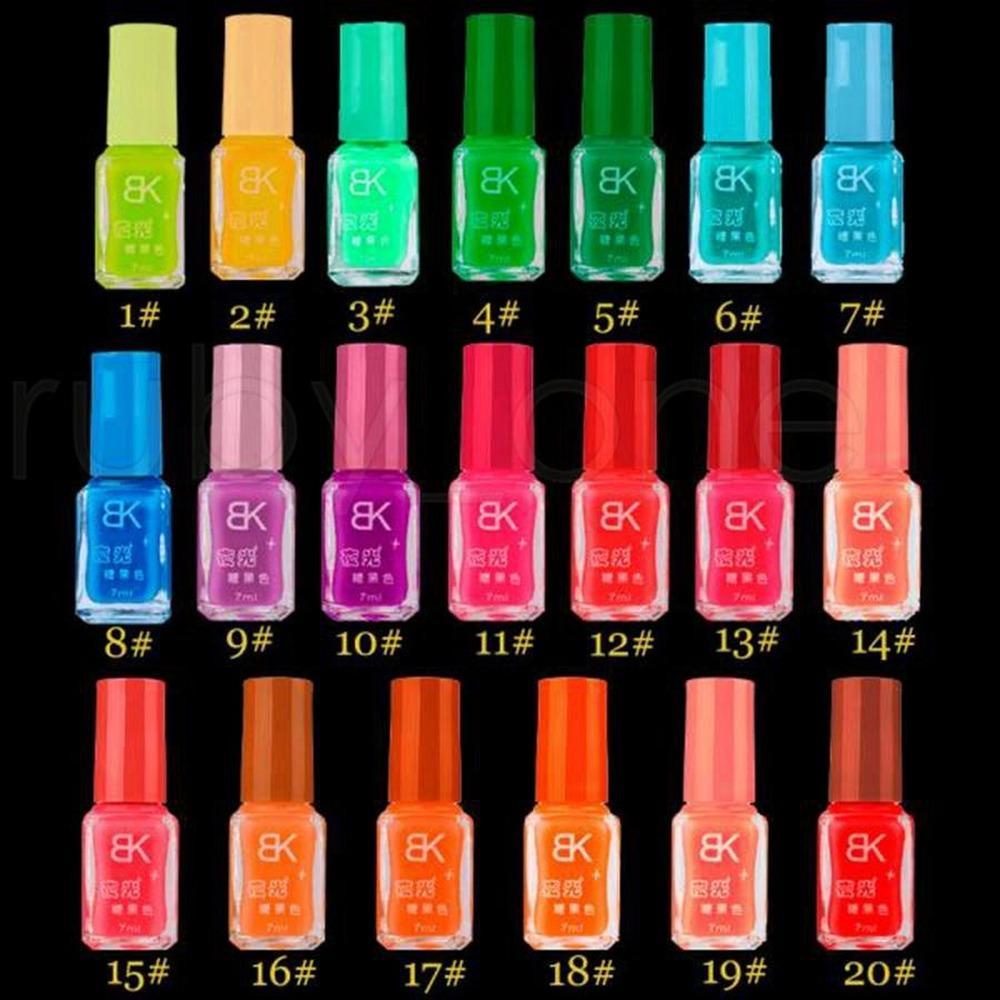 DHL 20 Şeker Renkler Floresan Neon Aydınlık Jel Oje Için Glow Için Koyu Tırnak Vernik Manikür Emaye Bar Parti Aydınlık Oje