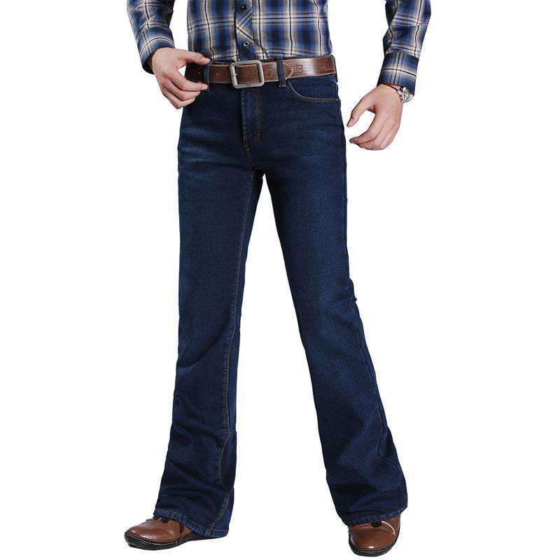 2020 Winter Plus Velvet Jeans Boot-Cut Stretch-Hosen Ausgestelltes Herrenmode für Leg-Fit Klassische Denim Male