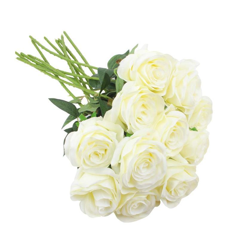 ¡Promoción! Falso flores artificiales de Rose de flores de seda Rose Ramos Arrangment para el hogar fiesta de la boda decoración de jardín, 10Pcs