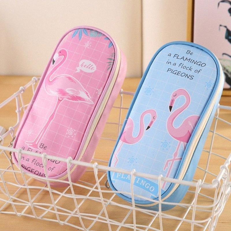Kawaii Многофункциональный большой емкости Pencilbag Cute Flamingo пенал для девочек Детские Подарки Школьные принадлежности Корейский Канцелярские TYr2 #