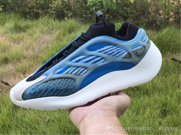 2020 Yeni Kanye West 700 V3 Azareth Koyu Yeşil Gri Azael 3M Yansıtıcı Dalga Runner EVA köpük Erkekler Kadınlar Spor Sneakers ile Kutu Koşu Ayakkabıları