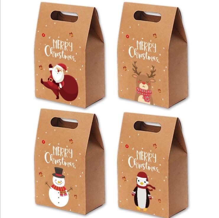 Natale caramella di Natale d'epoca della carta kraft di Apple Confezione Regalo di Natale Mailbox Confezioni Regalo di natale Bakery Packaging Box Tatuaggi LSK959