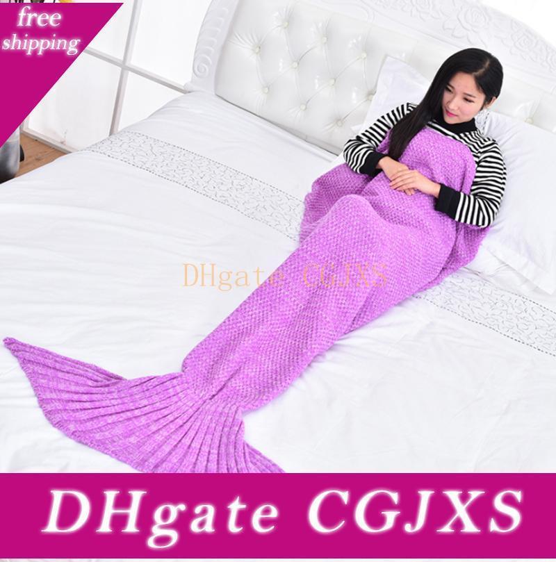 Mermaid Tail Coperta Dormire a maglia Coperte Crochet Mermaid coperta per adulti molle eccellente