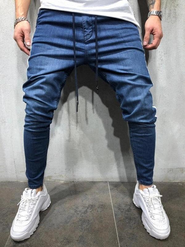 Casual Sports Pants Men lado da emenda dos retalhos Jeans Pant Denim cor sólida Calças New Preto Azul Cyhc #