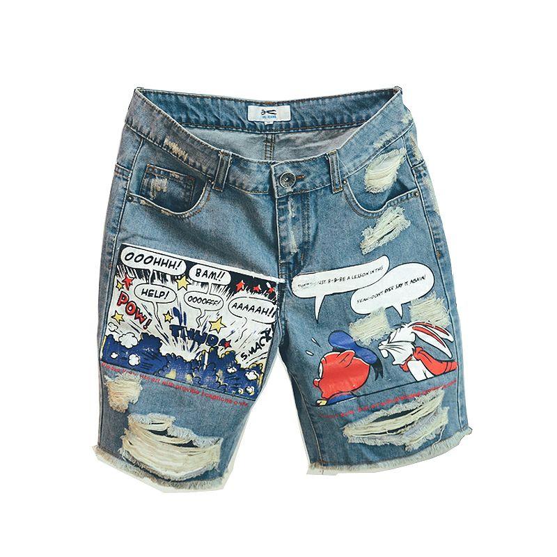 New Arrival Hot Sale Fashion Mens Jeans Print Light Jean Shorts Men Ulzzang Summer Pattern Length Zipper Fly Stonewashed 200924