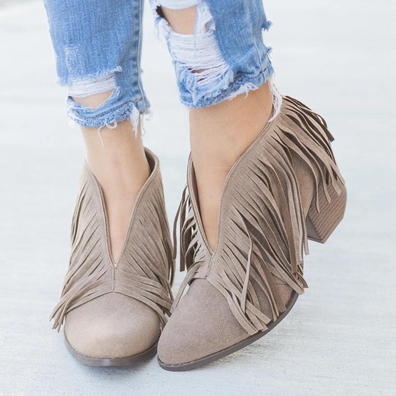 Мода Chic Женщины Обувь Fringe Замша Высокий каблук Ботильоны Женщины Mid Пятки вскользь Mujer пинетки Feminina Плюс Размер 43