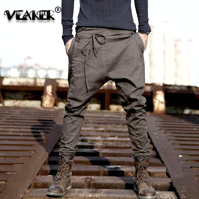 2020 Pantaloni Hip Hop uomini sciolti pantaloni della tuta vita bassa Pantaloni harem Uomini Streetwear Punk Pantaloni Jogger Maschio Danza nero Pant