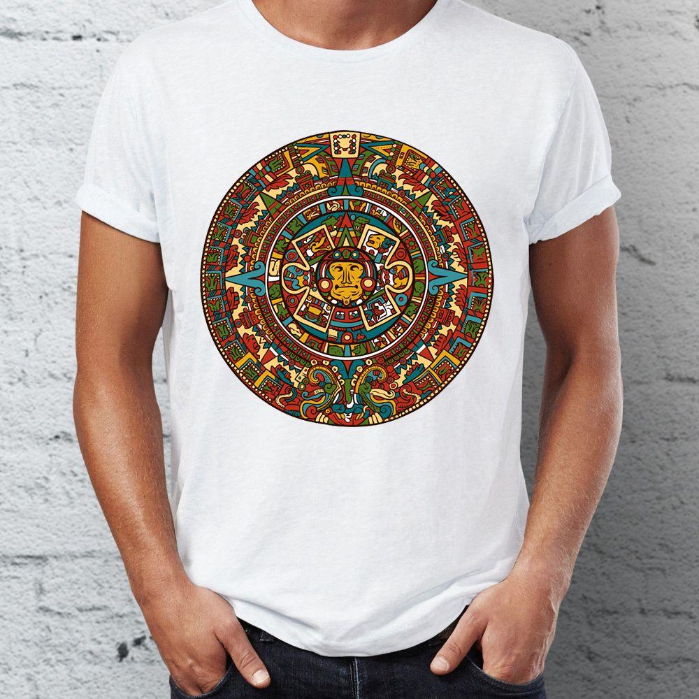 Männer-T-Shirt Azteken-Kalender kühle artsy T