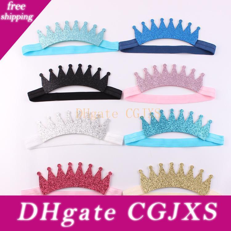 Fasce delle neonate Tiara fasce bambini Sparkle Crown Princess Copricapo Hairbands bambini glitter Accessori per capelli Boutique Headwear Kha462