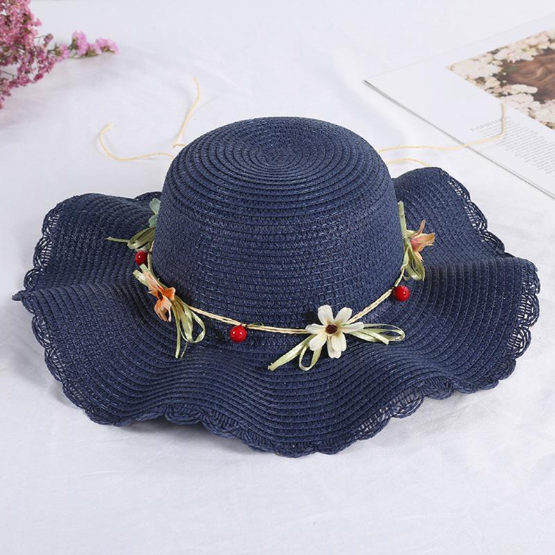 Мода соломенная шапка складные дамы сплетенные соломенные пляж Солнцезащитная шляпа с цветком Женщины Летние Широкий Brim Cap Wretal Sun Hat