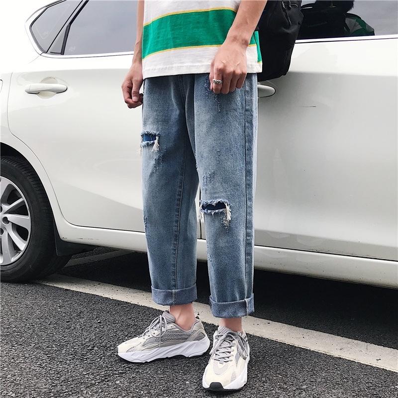 lZUIS verano nueva pantalones vaqueros rasgados nueve puntos Jeans papá pantsWide de los hombres pantalones de pierna pierna pantsnine puntos suelto recto amplia versatilidad