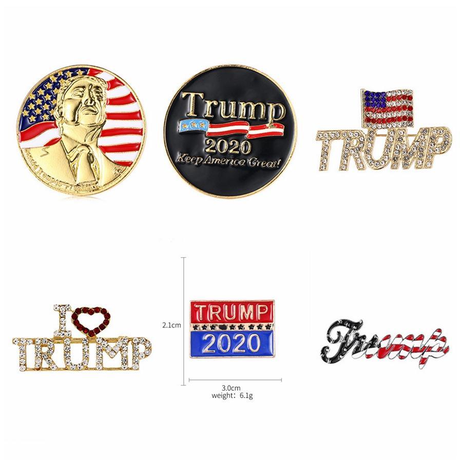 도널드 트럼프 기념 배지 2020 미국 대통령 선거 금속 브로치 핀 컬렉션 크리스탈 브로치 기념품 동전 DDA357