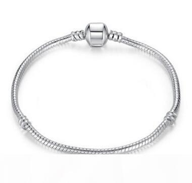 Tasarımcı toka Stil Bilezik DIY Takı bileşeni ücretsiz nakliye için taç ile 925 ayar gümüş Bilezikler 17cm-23cm Logosu