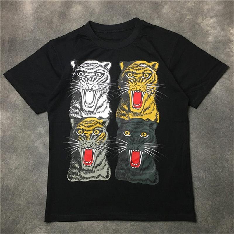 Мода мужская майка 2020 Известная улица Высокое качество Тайгер печать рубашки пуловер с коротким рукавом Поло Мужчины Женщины Пары Стиль хип-хоп Tee