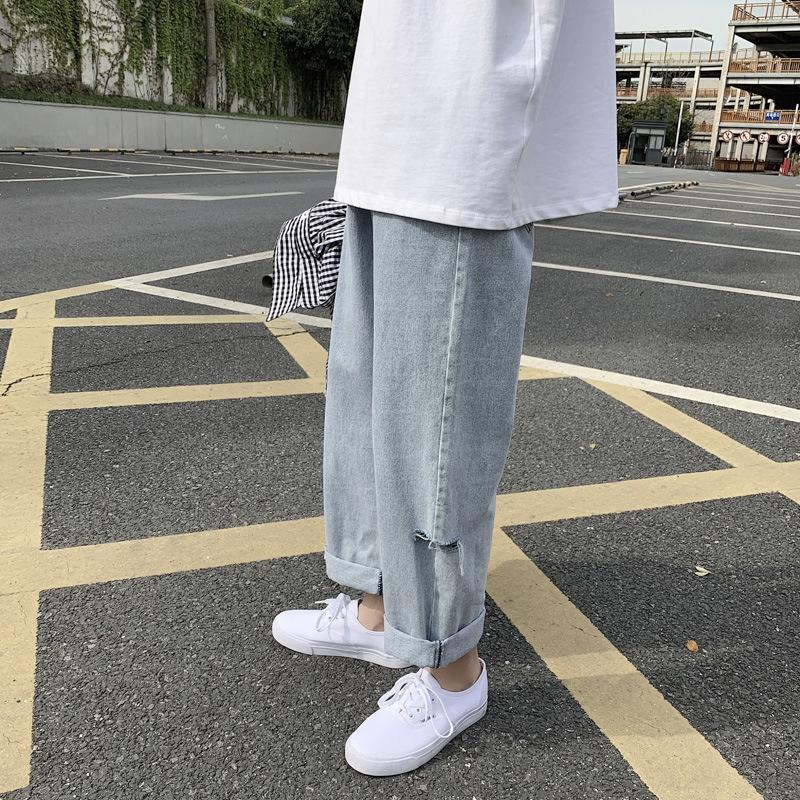 tXgVG gY8py Summer boys' straight men's loose Korean jeans trendy ins casual wide leg and jeans trousers and style dad pants ankle-length pan