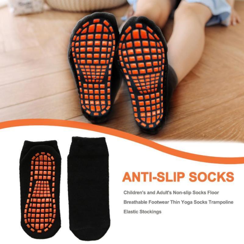 1 par niños y adultos de algodón de silicona anti de la resbalón Calcetines Calcetines Trampolín Adulto uso cómodo para no Slip Yoga Deportes