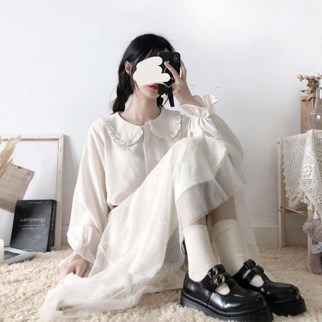 gdvy7 chOiK Frühling und Sommer weiche Mädchenspitze Lolita Puppe Kragen weibliche Studenten koreanische Hülse loser langer Stil grundiert modisches Puppenhemd Lac