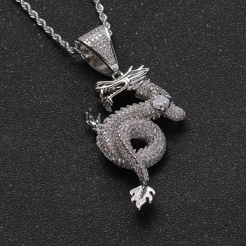 Hip Hop аксессуары Китайский стиль зодиак золотой дракон меди инкрустированные циркон кулон ожерелье хип-хоп