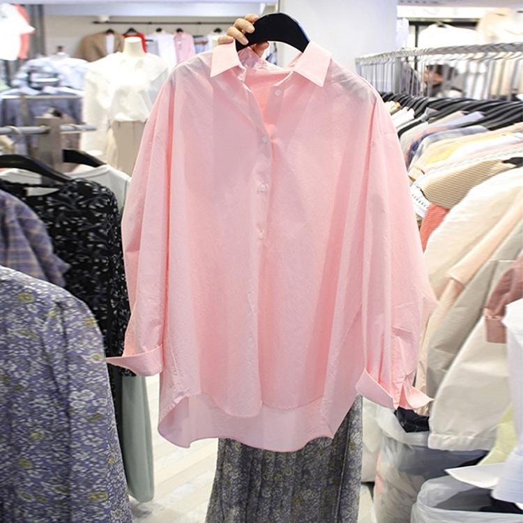Koreli bahar kadın giyim yeni 2020 Dongdaemun POLO yaka kısa ön ve uzun arka zarif Üst kadın gömlek gömlek üst pP9wy