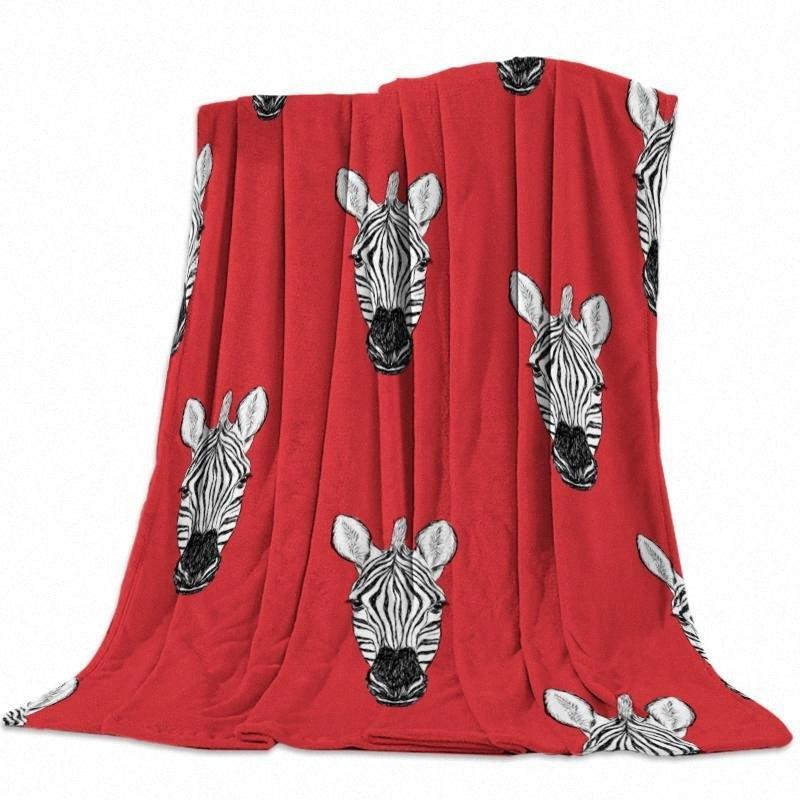 Couverture personnalisée Accueil Textile Chefs Zèbre Fond rouge Flanelle pondéré Couverture souple chaud Throw canapé-lit Couvertures Voyage q2S2 #