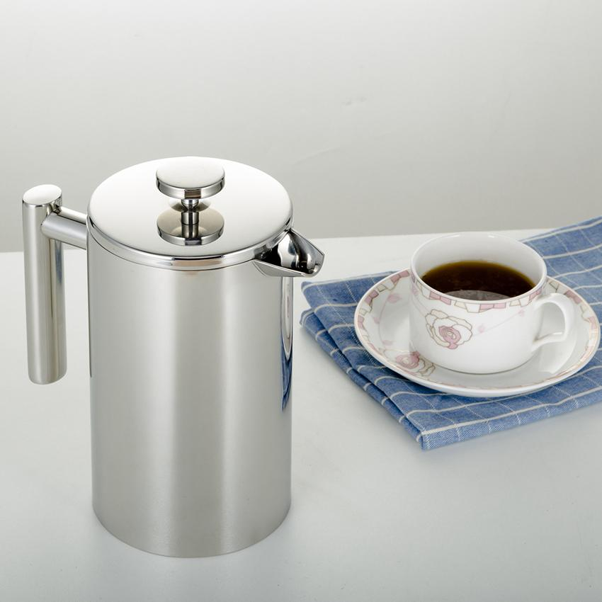 350/800 / 1000ML Coffee Pots French Press Chá Duplo Walled Stainless Steel Cafeteira chá Pot com filtro Filtro GGA3697