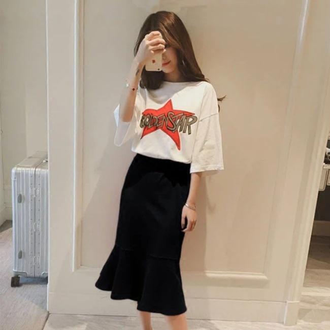 lettera delle donne vestito nuovo stile coreano yfSv6 2020 estate del pannello esterno a maniche corte T-shirt lunga lunga T-shirt + balze metà gonna due pezzi su