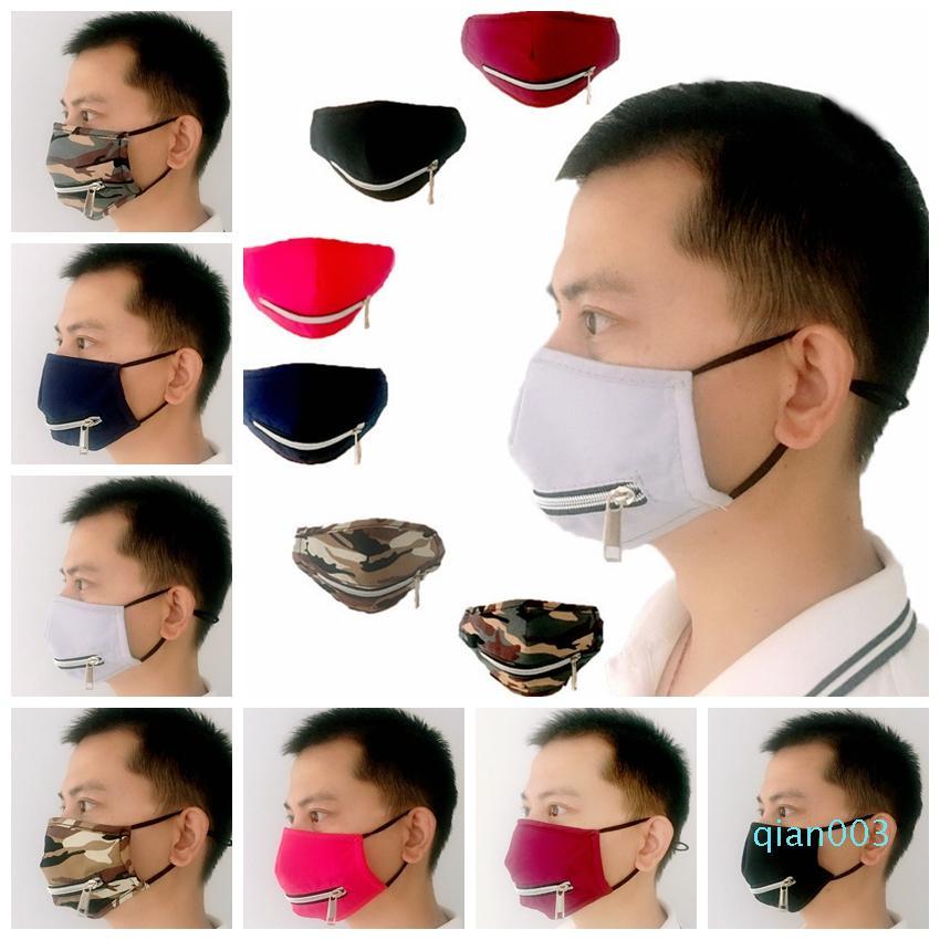 2 en 1 Masque Valve avec de réglable Fermeture à glissière anti-poussière lavable en coton Masques de protection Designer RRA3358