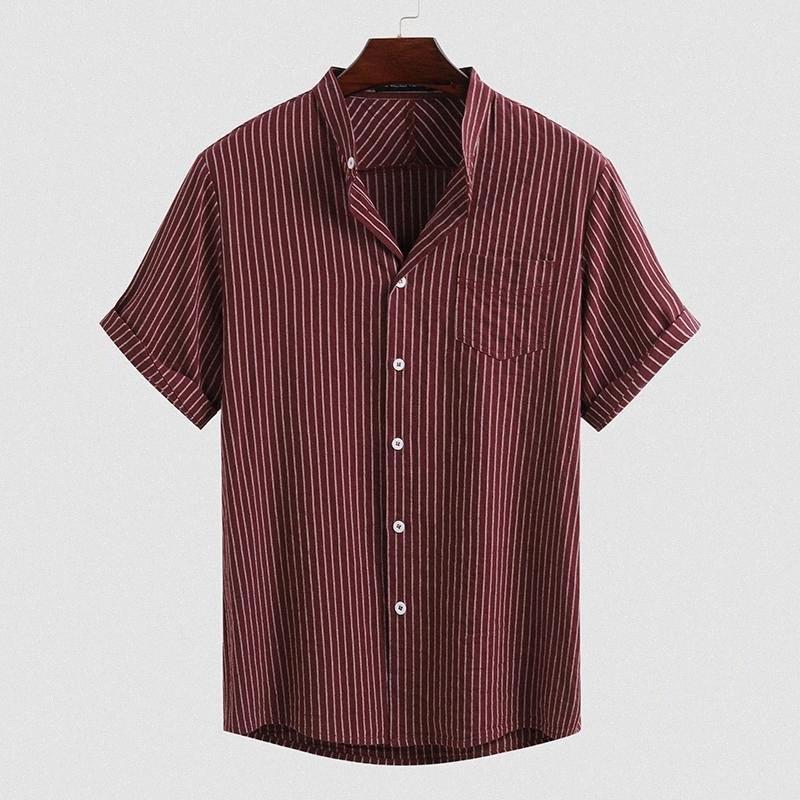 Camicie da uomo a righe manica corta stand Collar Blusas cotone traspirante Pulsanti Camisa Estate Harajuku pulsanti camicetta INCERUN 5XL7 JrYF #