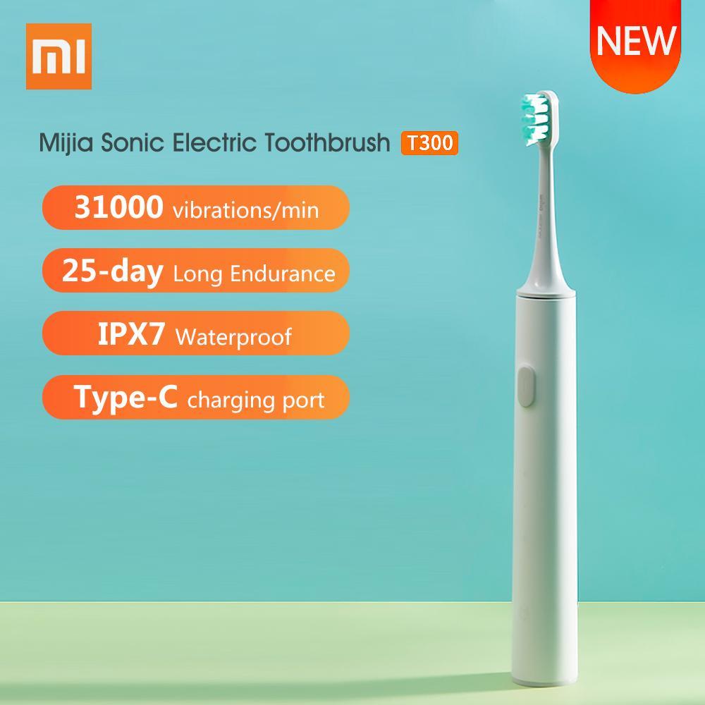 Xiaomi Mijia Sonic Elektrische Zahnbürste T300 USB aufladbare Zahnbürste Ultraschall-Wasserdichtes Zahnbürste Gum Gesundheit Zähne
