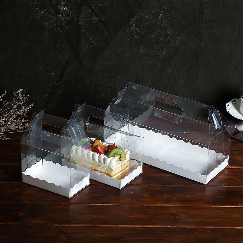 Şeffaf Kek Rulo Kutu Çevre Dostu PET Plastik İsviçre Rolls Vaka El Gıda Conainers 2wk3 E1 Held Paketleme